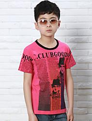 manga curta menino jornal impresso de t-shirt