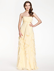 Bridesmaid Dress Floor Length Chiffon Sheath Column Strapless Dress