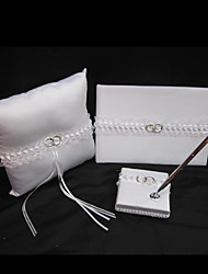 Wedding Collection Set In White Satin With Wedding Ring Accent (3 Pieces)