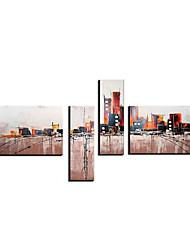 Ручная роспись Пейзаж / Абстрактные пейзажи 4 панели Холст Hang-роспись маслом For Украшение дома