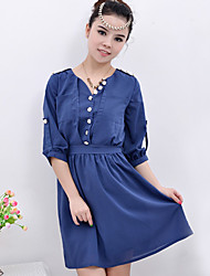 Chiffon Button Front Dress