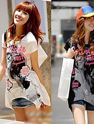 Asymmetrical Graphic Long Tee Shirt