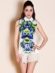 ts estilo barroco impresión cuello blusa camisa (más colores)
