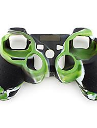 Schutz und Tarnung Stil Silikon-Hülle für PS3 Controller (grün und schwarz)