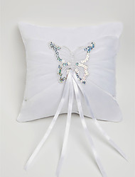 Wedding Ring Pillow In White Satin With Butterfly Decorated