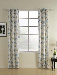 (Dois painéis grommet topo) azul floral cortina de poupança de energia do país
