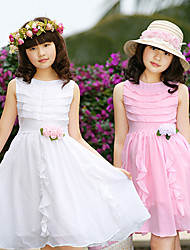 Cute Bear Pattern Girls' Chiffon Princess Dress