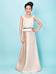 Lanting Bride® Floor-length Satin Junior Bridesmaid Dress A-line / Princess Scoop Natural with Appliques / Sash / Ribbon