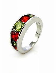 lussuoso rosso e verde zirconi platinato forma rotonda anello di moda
