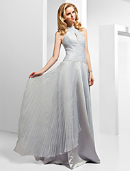 A-Line Princess High Neck Floor Length Organza Formal Evening Dress with Beading Split Front Pleats by TS Couture®