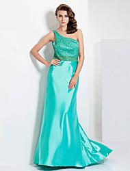 Sheath/ Column One Shoulder Sweep/ Brush Train Stretch Satin Evening/Prom Dress