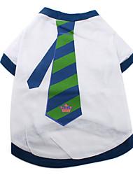 Tee-Shirt Motif Cravate Rayée Bleue et Verte pour Chiens, XS-M - Blanc