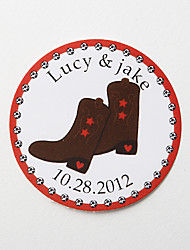 Personalized Round Favor Stickers – Boots (Set of 36)