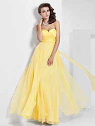 Prom / Formal Evening / Military Ball Dress - Elegant A-line / Princess Strapless / Sweetheart Floor-length Chiffon withDraping / Criss