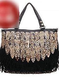 Trendy Multi-function Ladies' PU Tote&Cross Body Bag With tassel(42cm*12cm*32cm)