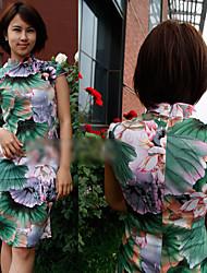 chino estilo de la flor impresa cheongsam