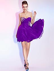 uma linha-namorada strapless mini-chiffon vestido de cocktail curto / / baile