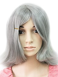 Capless Syntheitc Grey Short Straight Party Wig