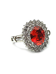 Ruby Platinum Plated With Oval Shape Love Dress Ring