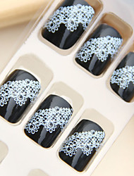 Black Background Lace Style Nail Art Tips With Glue (24pcs)