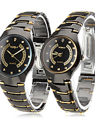 Couple's Black & Gold Alloy Quartz Analog Wrist Watches (1-Pair) Cool Watches Unique Watches