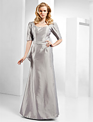 Formal Evening Dress - Silver Plus Sizes / Petite Sheath/Column Scoop Floor-length Taffeta