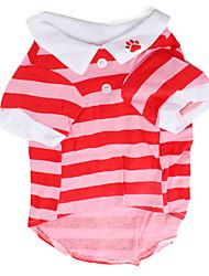 Perros Camiseta Rojo Primavera/Otoño Rayas