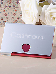 Personalized Red Hert Metal BusIness Card Case