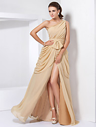 Formal Evening / Military Ball Dress - Elegant A-line / Princess One Shoulder Floor-length Chiffon withBow(s) / Lace / Split Front / Side