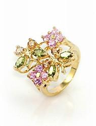 lussuoso cubic zirconia platinato forma irregolare anello di moda