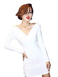 Sheath/Column V-neck Off-the-shoulder Solid Color Mini/Dress