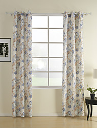 Two Panels Floral  Botanical Blue Bedroom Polyester Panel Curtains Drapes