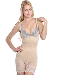 Chinlon With Lace/Jacquard Mid Thigh Shapewear Teddy Sexy Lingerie Shaper