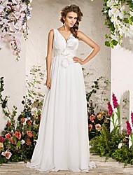 Lan Ting Sheath/Column Plus Sizes Wedding Dress - Ivory Floor-length V-neck Chiffon
