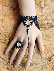 Handmade Black Lace White Stone Crown Gothic Lolita Ring Bracelet