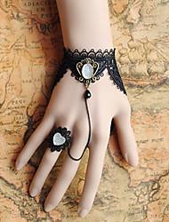handmade preto de renda branca pedra coroa gothic lolita pulseira, anel