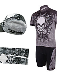 Cycling BIB Suits with Cap and Arm Warmers(Gray and Black)