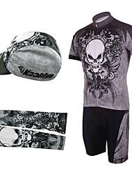 bicicleta trajes babero con calentadores de cabeza y el brazo (gris y negro)