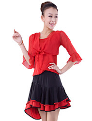 Dancewear Viscose Latin Dance Top And Teirs Skirt For Ladies