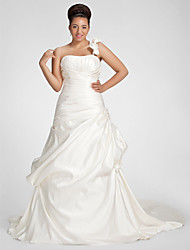 LAN TING BRIDE Plus Size A-line Wedding Dress - Chapel Train One Shoulder Satin with Criss-Cross Draped Flower