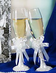 flauto da sposa bianco perla tostatura impostato con l'arco