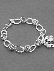 Fashion Silver Plated Heart Lock Key Women's Bracelet