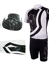 Cycling BIB Suits with Cap and Arm Warmers(White and Black)