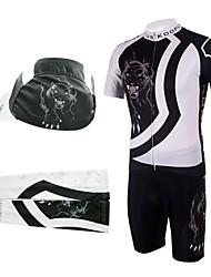ciclismo ternos babador com boné e braço aquecedores (branco e preto)