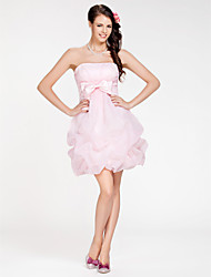 Short/Mini Organza Bridesmaid Dress - Blushing Pink Plus Sizes / Petite Ball Gown / A-line Strapless