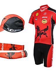 Cycling BIB Suits with Cap and Arm Warmers(Red and Black)