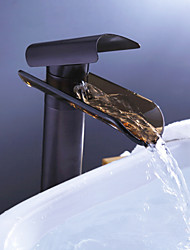 Contemporary Vessel Waterfall with  Ceramic Valve Single Handle One Hole for  Oil-rubbed Bronze , Bathroom Sink Faucet