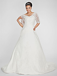 Lanting Bride A-line Petite / Plus Sizes Wedding Dress-Chapel Train V-neck Taffeta