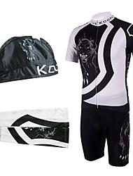 bicicleta trajes babero con pañuelo en la cabeza y calentadores de brazo (blanco y negro)