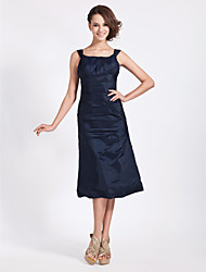 Tea-length Taffeta Bridesmaid Dress - Dark Navy Plus Sizes / Petite A-line / Princess Square